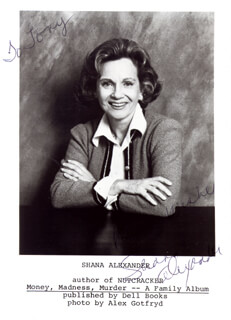 Autographs: SHANA ALEXANDER - INSCRIBED PHOTOGRAPH SIGNED
