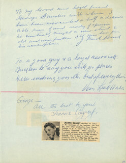 JEANNE CAGNEY - AUTOGRAPH NOTE SIGNED CO-SIGNED BY: EDMOND O'BRIEN