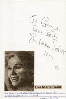 EVA MARIE SAINT - AUTOGRAPH SENTIMENT SIGNED 1971