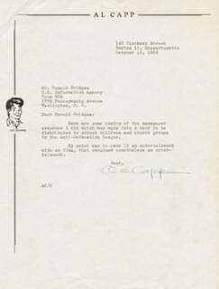 AL CAPP - TYPED LETTER SIGNED 10/19/1956