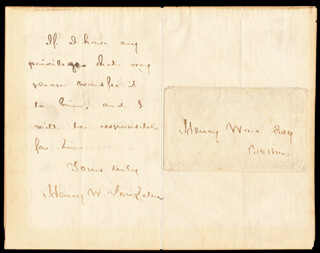 HENRY WADSWORTH LONGFELLOW - AUTOGRAPH LETTER SIGNED 06/19/1858