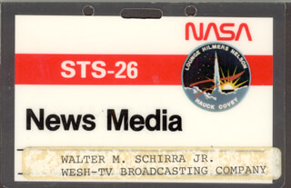 CAPTAIN WALLY M. SCHIRRA - PRESS PASS UNSIGNED CIRCA 1988