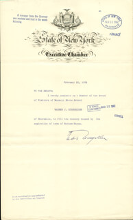 Autographs: VICE PRESIDENT NELSON A. ROCKEFELLER - DOCUMENT SIGNED 02/21/1962