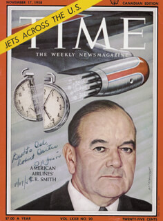 Autographs: CYRUS R. SMITH - INSCRIBED MAGAZINE COVER SIGNED 11/17/1958