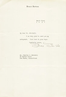 BRUCE BARTON - TYPED LETTER SIGNED 03/01/1927