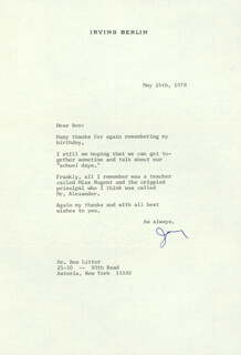 IRVING BERLIN - TYPED LETTER SIGNED 05/26/1970