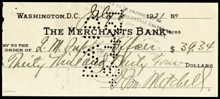 MAJOR GENERAL WILLIAM BILLY MITCHELL - AUTOGRAPHED SIGNED CHECK 07/06/1921