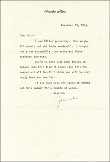 GROUCHO (JULIUS) MARX - TYPED LETTER SIGNED 11/19/1953