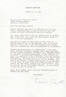 EDDIE CANTOR - TYPED LETTER SIGNED 02/10/1964