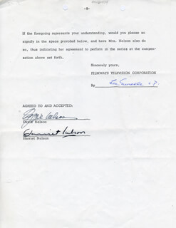 OZZIE NELSON - CONTRACT SIGNED 08/10/1973 CO-SIGNED BY: HARRIET HILLIARD NELSON