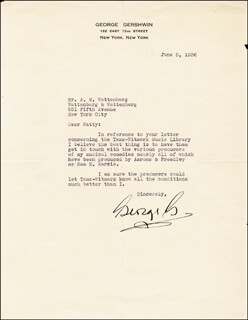 GEORGE GERSHWIN - TYPED LETTER SIGNED 06/05/1936
