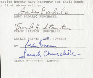 Autographs: SARAH CHURCHILL - CLIPPED SIGNATURE CO-SIGNED BY: ANGELO BADALAMENTI, LESLIE FREWIN, FRANK H. STANTON