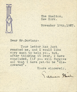 LILLIAN GISH - TYPED LETTER SIGNED 11/10/1927