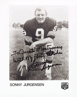 SONNY JURGENSEN - INSCRIBED PRINTED PHOTOGRAPH SIGNED IN INK