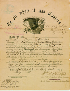 Autographs: COLONEL WILLIAM A. PHILLIPS - DOCUMENT SIGNED 05/31/1865