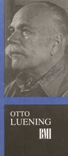 OTTO LUENING - INSCRIBED PAMPHLET SIGNED