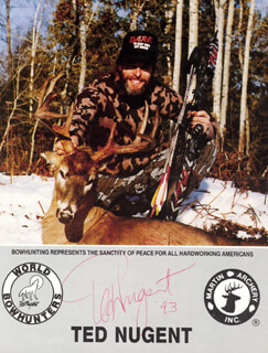 TED NUGENT - AUTOGRAPHED SIGNED PHOTOGRAPH 1993