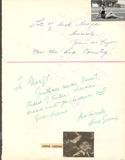 LORNE GREENE - AUTOGRAPH NOTE SIGNED CO-SIGNED BY: CLIFF ROBERTSON