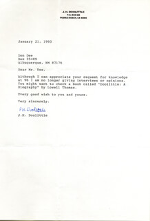 BRIGADIER GENERAL JAMES H. JIMMY DOOLITTLE - TYPED LETTER SIGNED 01/21/1993