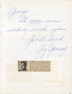 GIG YOUNG - AUTOGRAPH NOTE SIGNED CO-SIGNED BY: Y. F. PETE FREEMAN JR., ROBERT IVERS