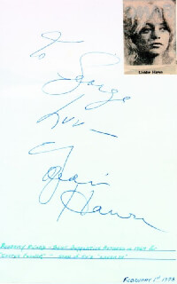 GOLDIE HAWN - AUTOGRAPH NOTE SIGNED