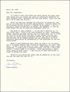 JANET GUTHRIE - TYPED LETTER SIGNED 04/22/1992