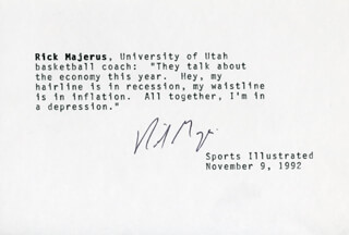 RICK MAJERUS - TYPED QUOTATION SIGNED 11/09/1992