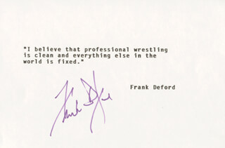 FRANK DEFORD - TYPED QUOTATION SIGNED