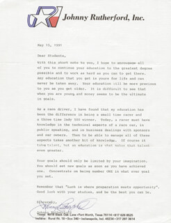 JOHNNY RUTHERFORD - TYPED LETTER SIGNED 05/15/1991
