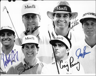 HAL E. SUTTON - AUTOGRAPHED SIGNED PHOTOGRAPH CO-SIGNED BY: BLAINE McCALLISTER, JEFF SLUMAN, JAY HAAS, CRAIG PARRY, ROBERT GAMAZ