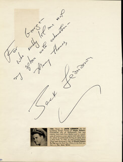 JACK LEMMON - AUTOGRAPH NOTE SIGNED CO-SIGNED BY: MIIKO TAKA