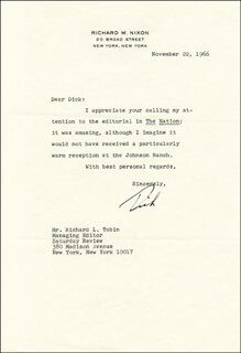 PRESIDENT RICHARD M. NIXON - TYPED LETTER SIGNED 11/22/1966