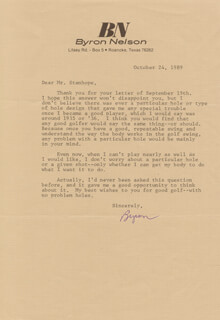 BYRON NELSON - TYPED LETTER SIGNED