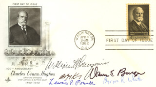 CHIEF JUSTICE WILLIAM H. REHNQUIST - FIRST DAY COVER SIGNED CO-SIGNED BY: ASSOCIATE JUSTICE BYRON R. WHITE, ASSOCIATE JUSTICE ANTHONY M. KENNEDY, CHIEF JUSTICE WARREN E. BURGER, ASSOCIATE JUSTICE LEWIS F. POWELL JR.