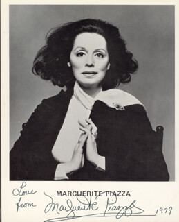 MARGUERITE PIAZZA - PRINTED PHOTOGRAPH SIGNED IN INK 1979