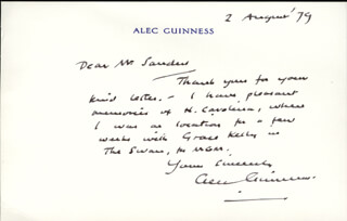 SIR ALEC GUINNESS - AUTOGRAPH LETTER SIGNED 08/02/1979
