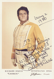 RICHARD KNESS - AUTOGRAPH NOTE ON PRINTED PHOTOGRAPH SIGNED IN INK 05/02/1980