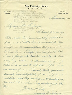 CHAUNCEY B. TINKER - AUTOGRAPH LETTER SIGNED 09/22/1949