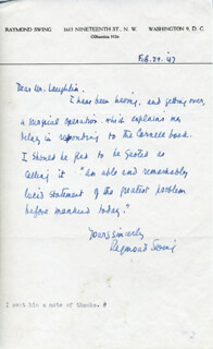 RAYMOND GRAM SWING - AUTOGRAPH LETTER SIGNED 02/24/1947