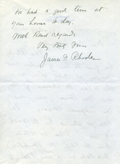 JAMES FORD RHODES - AUTOGRAPH LETTER SIGNED 8/14