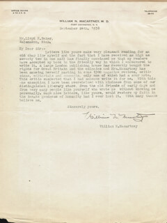 WILLIAM N. MACARTNEY - TYPED LETTER SIGNED 09/24/1938
