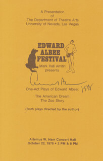 Autographs: EDWARD ALBEE - PROGRAM SIGNED