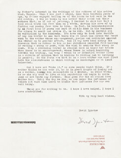 DAVID IGNATOW - TYPED LETTER SIGNED 01/23/1979
