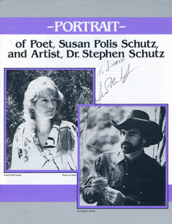SUSAN POLIS SCHUTZ - INSCRIBED PAMPHLET SIGNED