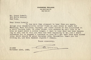 CHANNING POLLOCK - TYPED LETTER SIGNED 11/23/1930