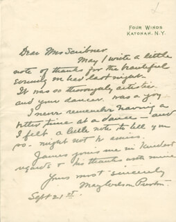 MAY WILSON PRESTON - AUTOGRAPH LETTER SIGNED 09/21