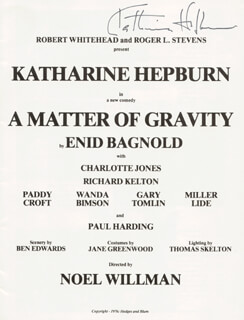 KATHARINE HEPBURN - PROGRAM SIGNED CIRCA 1976