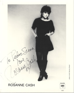 ROSANNE CASH - INSCRIBED PRINTED PHOTOGRAPH SIGNED IN INK 1984