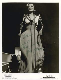 ROSE BLANE - AUTOGRAPHED INSCRIBED PHOTOGRAPH