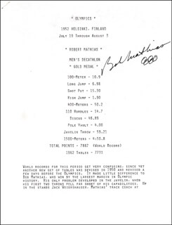 Autographs: BOB MATHIAS - TYPESCRIPT SIGNED